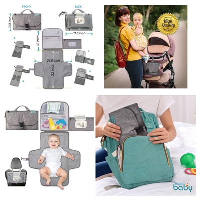 Baby Diaper Changing Pad Portable Newborn With Smart Wipes Pocket & Waterproof