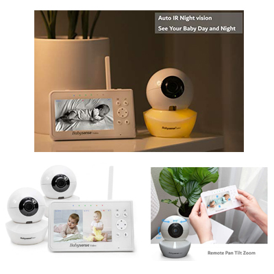BabySense Split-Screen 4.3 LCD Display With 2 Cameras Two-way Talk, Lullabies & White Noise Sound