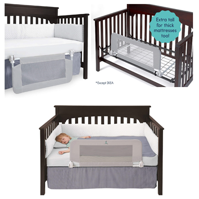 Convertible Crib Bed Rail For Toddlers With Reinforced Anchor Safety