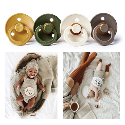 Natural Rubber Baby Pacifier Bibs BPA-Free For Toddlers Ages 0 to 6 Months Pack 4