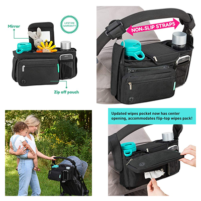 Non-Slip Stroller Organizer With Cup Holders For You And Your Baby