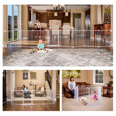 The Regalo Super Wide Baby Gate Play Yard One-touch Safety Lock Release